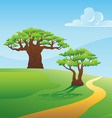 scenic summer landscape vector illustration vector image