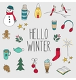 Winter doodles hand drawn set vector image