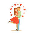 young happy couple in love embracing colorful vector image