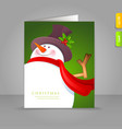 xmas card snowman vector image vector image