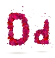 Letter D made from hearts Love alphabet vector image