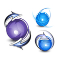 arrows circling blue balls vector image