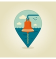 Bell marine pin map icon Marine Sea vector image