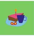 Birthday cake and tea vector image