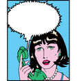 Comic Woman On Phone vector image