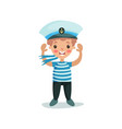 cute happy little boy in sailors costume kid vector image