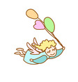 little angel flying with balloons vector image