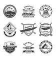 Rafting Canoeing And Kayak Emblems Set vector image