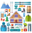 winter sports activity and equipment icon set vector image