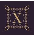 Monogram letter X Calligraphic ornament Gold vector image