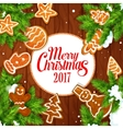 Merry Christmas 2017 gingerbread biscuits poster vector image