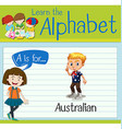 Flashcard letter A is for Australian vector image
