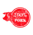 red grunge dirty rubber stamp with a pig vector image