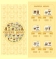 coffee menu card set of cute various coffee icon vector image