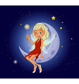A fairy holding a magic wand sitting at the vector image