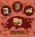 Theater flat concept icons vector image