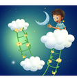 A happy boy at the top of the cloud vector image vector image