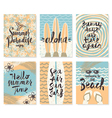 Set of summer holidays posters or greeting card vector image
