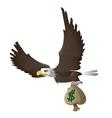 Eagle flies and carries bag with dollars vector image