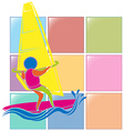 Sport icon for windsurfing in colors vector image