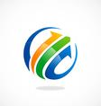 arrow business finance globe logo vector image