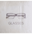 engraving glasses on the old wrinkled paper vector image