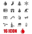 grey christmas icon set vector image