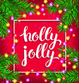 holly jolly bright composition with glowing vector image