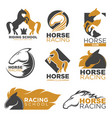 horse racing colorful logo label set isolated on vector image