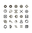 Isolated black outlined buttons icons set vector image