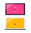 Lock and unlock with password symbols on notebook vector image
