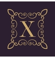Monogram letter X Calligraphic ornament Gold vector image