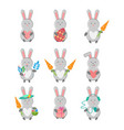 set of hare with different subjects - heart vector image