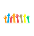 hands of different colors cultural and ethnic dive vector image vector image