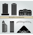 Memphis landmarks and monuments vector image