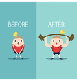 Bodybuilder with barbell before and after concept vector image