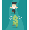 Businessman running to the money vector image