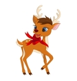 Cute Christmas reindeer with ribbon vector image