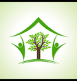 Eco home icon with tree and persons vector image