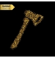 Gold glitter icon of axe isolated on vector image