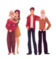 Grandchildren hugging their grandparents cartoon vector image