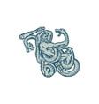 Hercules Fighting Hydra Club Etching vector image