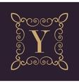 Monogram letter Y Calligraphic ornament Gold vector image