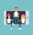 millennial friends sitting and standing inside vector image