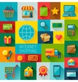 Background with internet shopping icons in flat vector image