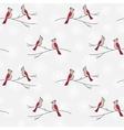 Hand drawn birds plants seamless pattern vector image