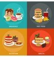Meal Tower Square Icon Set vector image