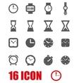 grey clock icon set vector image vector image