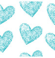 blue hearts seamless pattern vector image