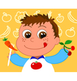 child with healthy food vector image